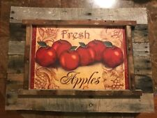 Lg Handmade Rustic APPLE Picture reclaimed wood farm house Kitchen Home Decor