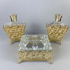 Vintage 50s Ormolu Filigree Perfume Bottles Glass Trinket Box Gold