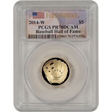 2014-W US Gold $5 Baseball Proof - PCGS PR70 - First Strike - Hall of Fame Label