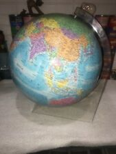 """Cool World Globe Globemaster 12"""" on Clear Lucite Plastic Stand mid century style"""