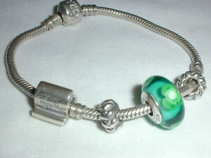 AUTHENTIC PANDORA STERLING SNAKE BRACELET W/ 4 PANDORA CHARMS!