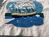 Antique Or Vintage Sailors Woolie Style Folk Art Needlework Picture