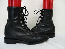 Cowtown Black Leather Lace Roper Cowboy Boots Womens Size 6 B Style 3806