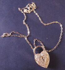 Swarovski Silver Tone Surely Heart Lock Rhinestone Pendant Necklace - Swan Mark