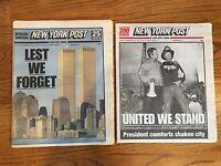 2 New York Post NY Newspaper LEST WE FORGET 911 September 11th Terrorist Attacks