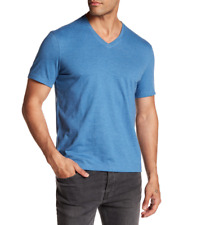 John Varvatos Star USA Men's Basic Slub V Neck Atlantic Blue Tee Shirt Sz L 0501