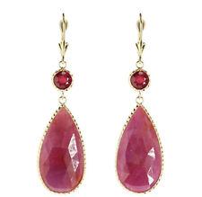 Handmade 14K Yellow Gold Dangle Gemstone Earrings With Sliced Ruby Drop