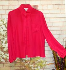 Red Blouse Mock Neckline Professional Look size 10  Pre-Owned