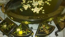 Chinese Oriental Black lacquered Coffee table with mother of pearl and 4 stools