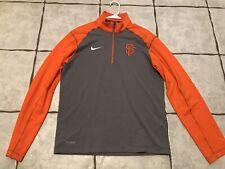 Nike Dri Fit Small San Francisco Giants 1/4 Zip Pullover Orange gray Long Sleeve