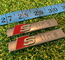 2 x Audi S Line sline Badge Emblem Side Fender Wing Chrome Metal Genuine Pair