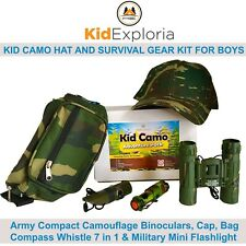 Kid Camo Hat and Survival Gear Army Set: Camoflauge Binoculars Hat Flashlight