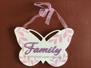 Family glitter wooden butterfly gift hanging plaque