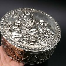 Non-u.s. Silver Asian Antiques Rare Chinese Silver Floral Blossom Repousse Enamel Pill Box British Silversmith Always Buy Good