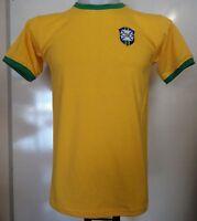 BRAZIL YELLOW RETRO FOOTBALL TEE-SHIRT ADULTS SIZE XXL BRAND NEW