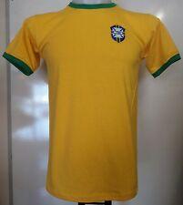 BRAZIL YELLOW RETRO FOOTBALL TEE-SHIRT ADULTS SIZE XL BRAND NEW