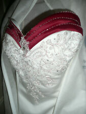 Strapless Pearl + Claret Wedding Dress Gown Train + Wrap by Mori Lee size 26