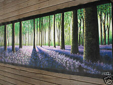"83"" tree forest woods flowers panoramic  art painting landscape  By Jane COA"