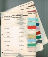 1957 ( + Late 1956) Mercury exterior COLOR CHIP SAMPLE PAINT CHART Brochure
