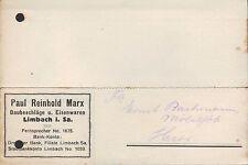 LIMBACH, Postkarte 1929, Paul Reinhold Marx Baubeschläge Eisenwaren