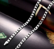 "Real 9k White Gold filled Men's Bracelet + necklace 21"" Chain Set Birthday Gift"
