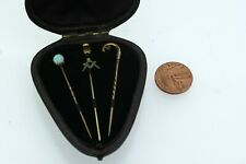 Set of 3 stick pins, 1x opal,1x masonic and 1x ruby set in fitted case.