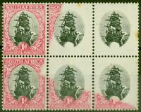South Africa 1930 1d Black & Carmine SG43b Frame Omitted MNH Block of 6