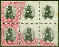 Afrique Du Sud 1930 1d Noir & Carmin SG43b Cadre Omis MNH Bloc De 6