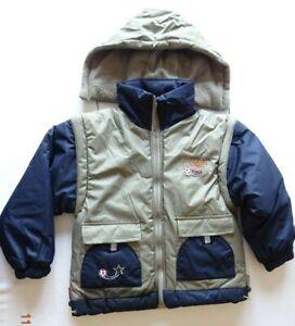 Boy Sport Khaki/Black Jacket With Detachable Hood & Sleeves Gilet Bodywarmer 3-4