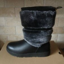 UGG REYKIR WATERPROOF BLACK LEATHER FUR SHORT WINTER BOOTS SIZE US 7.5 WOMENS