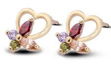 18 k Gold Plated Stud Earrings for Small Girls or Women Heart & Butterfly E750