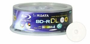 25 Pack Ridata Blu-ray BD-R DL Dual Layer 6X 50GB White Inkjet Printable Disc