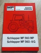 Massey Ferguson Traktoren MF560 + MF560-8G Betriebsanleitung