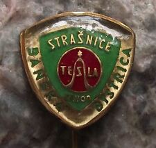 Antique Tesla Electronics Television TV Company Sine Wave Logo Shield Pin Badge