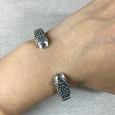 NEW LAGOS Silver Oval Caviar Torque Medium White Topaz Capped Cuff Bracelet $695