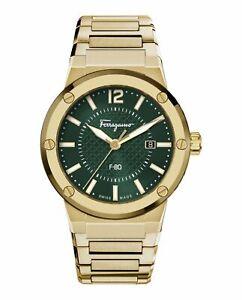 Salvatore Ferragamo Mens F-80 Gold 44mm Bracelet Fashion Watch