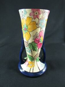 Large Tuscan Decoro Hand Painted Pottery Two Handled Vase c.1930-40s