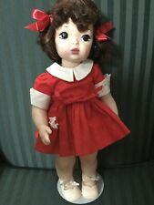 "16"" Terri Lee Auburn Raysheen Wig Red School Dress Tagged 1950's"