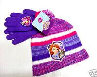 Disney girls Cold Weather Sofia the First purple beanie hat  gloves set OSFM NEW