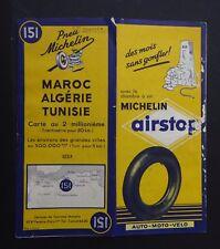 Carte MICHELIN n°151 map ALGERIE TUNISIE 1951 Bibendum pneu tyre pneumatico