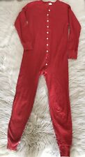 Men's L.L. Bean RED Long Johns ONE PIECE Union Suit MEDIUM Wool Blend 1950s