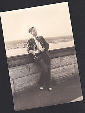 Vintage Antique Photograph Man Leaning On Wall With Old Time Camera Around Neck