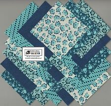 """40-4"""" inch Teal Flowers Fabric Squares/Quilt/Craft/Sewing/Charm Packs #0909"""