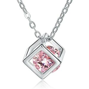 Made with Swarovski Elements Sparkly Pink Crystal Magic Cube Pendant & Necklace