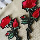 Pretty Red Rose Gardening Flower Rose Embroidered Iron On Applique Patch