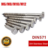 M6 M8 M10 M12 Stainless Steel Hex Hexagon Head Self-tapping Wood Screw Bolt