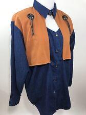 Women Panhandle Slim M Medium Denim Keyhole Western Cowboy Rockabilly Shirt USA