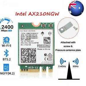 Dual Band Intel AX210 Wireless AX210NGW 2.4Gbps 802.11AX Wireless Wi-Fi 6 Card