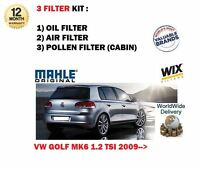 FOR VW GOLF 1.2 TSi MK6 2009-> SERVICE KIT OIL AIR POLLEN CABIN FILTER (3) SET