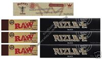 King Size Rizla Black Rolling Papers And Hornet Hemp And Raw Roach Tips Combo